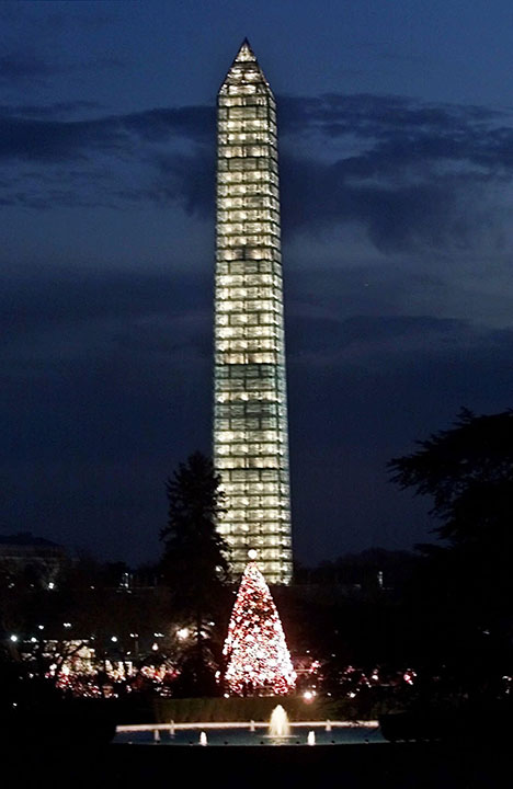 <div class='meta'><div class='origin-logo' data-origin='none'></div><span class='caption-text' data-credit='Pablo Martinez Monsivais/AP Photo'>The national Christmas Tree and the Washington Monument as seen at dusk from the south lawn of the White House Sunday, Dec. 12, 1999.</span></div>