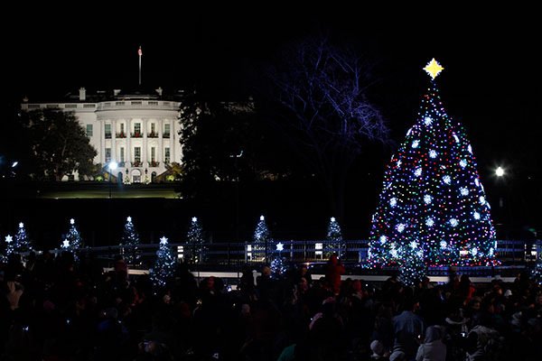 <div class='meta'><div class='origin-logo' data-origin='none'></div><span class='caption-text' data-credit='Pablo Martinez Monsivais/AP Photo'>The National Christmas Tree is pictured with the White House in the background after it was lit on the Ellipse across from the White House in Washington, Thursday, Dec., 1, 2011.</span></div>