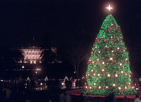 <div class='meta'><div class='origin-logo' data-origin='none'></div><span class='caption-text' data-credit='Wilfredo Lee/AP Photo'>With the White House in the background, the National Christmas Tree sits aglow on the Ellipse in Washington Thursday, Dec. 5, 1996.</span></div>