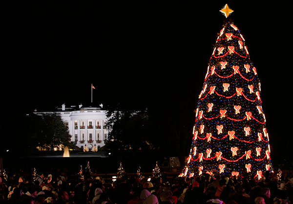 <div class='meta'><div class='origin-logo' data-origin='none'></div><span class='caption-text' data-credit='Susan Walsh/AP Photo'>The National Christmas Tree shines bright with the White House in the background in Washington, Thursday, Dec. 5, 2007.</span></div>