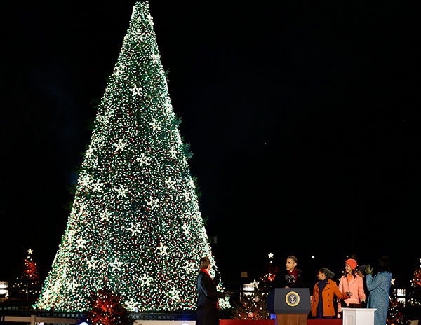 <div class='meta'><div class='origin-logo' data-origin='none'></div><span class='caption-text' data-credit='Alex Brandon/AP Photo'>President Barack Obama, first lady Michelle Obama, Malia Obama, Sasha Obama and Michelle Obama's mother Marian Robinson, participate in the ceremony on Dec. 6, 2012.</span></div>