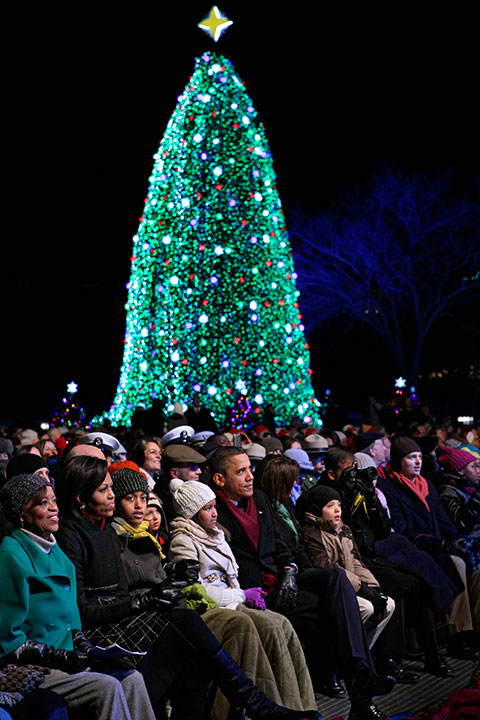 <div class='meta'><div class='origin-logo' data-origin='none'></div><span class='caption-text' data-credit='J. Scott Applewhite/AP Photo'>President Barack Obama and his family attend the National Christmas Tree lighting ceremony on the Ellipse, just south of the White House, in Washington, Thursday, Dec. 9, 2010.</span></div>