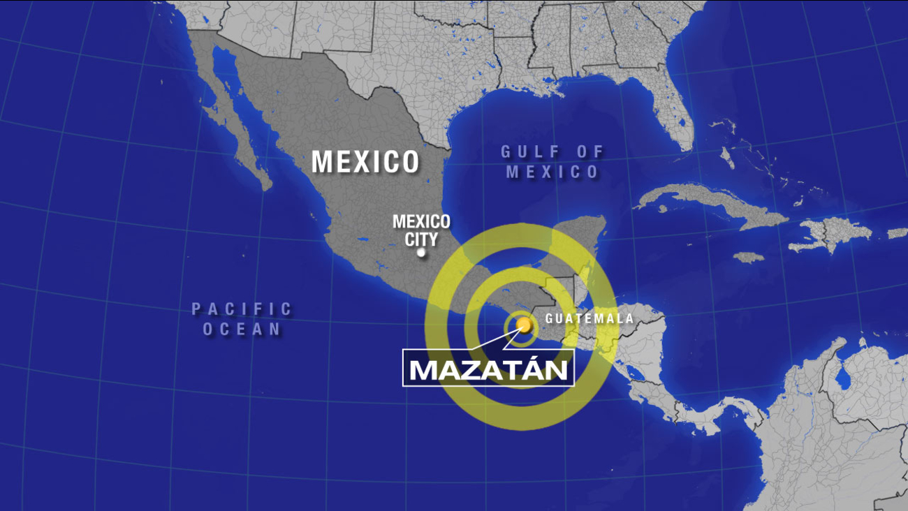 This map indicates the location of a 7.1-magnitude earthquake that struck southern Mexico on Monday, July 7, 2014.
