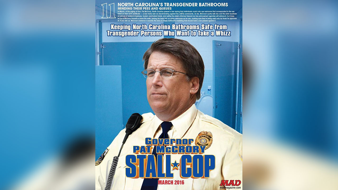 "MAD Magazine is putting Gov. Pat McCrory on its ""20 Dumbest List"" because of House Bill 2"
