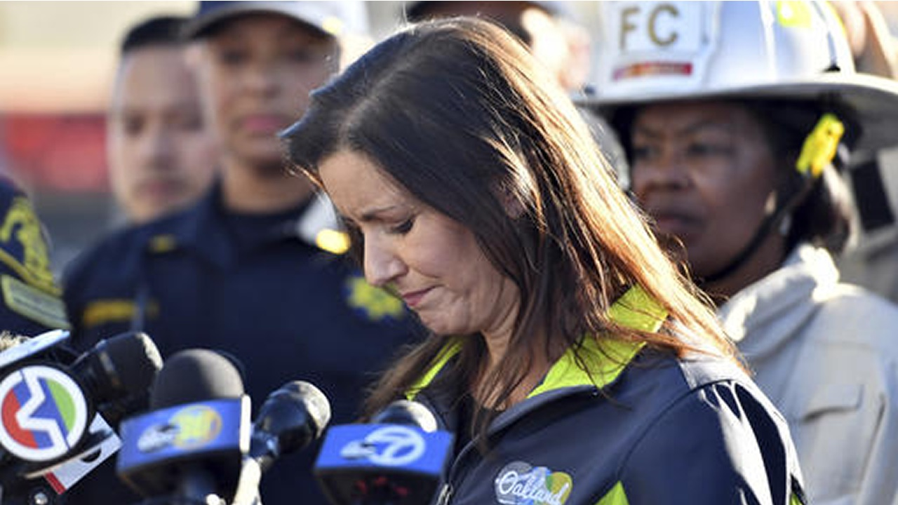 Oakland Mayor Libby Schaaf speaks to reporters after a deadly fire at a warehouse rave party in Oakland, Calif.. on Saturday, Dec. 3, 2016.