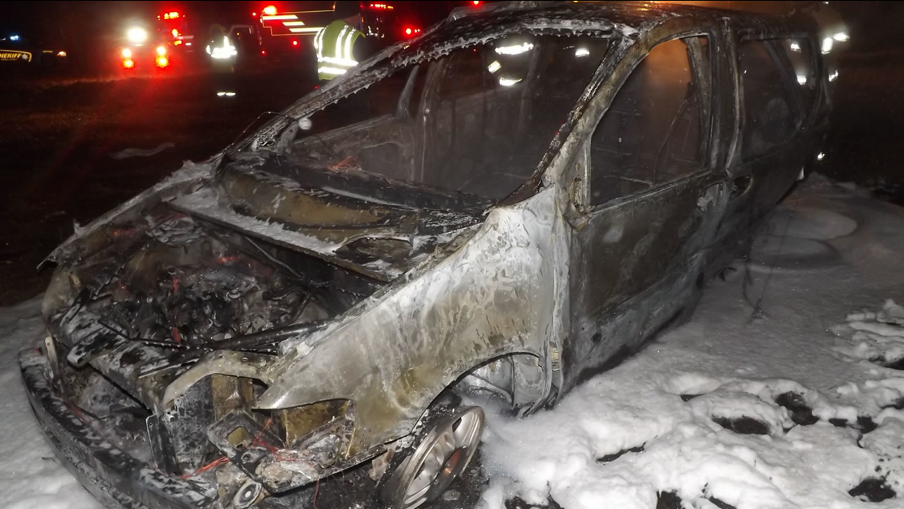 The van caught fire after the driver was thrown out (image courtesy Aberdeen Times.)