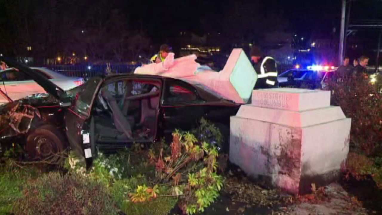 Christopher Columbus statue falls on top of car after crash
