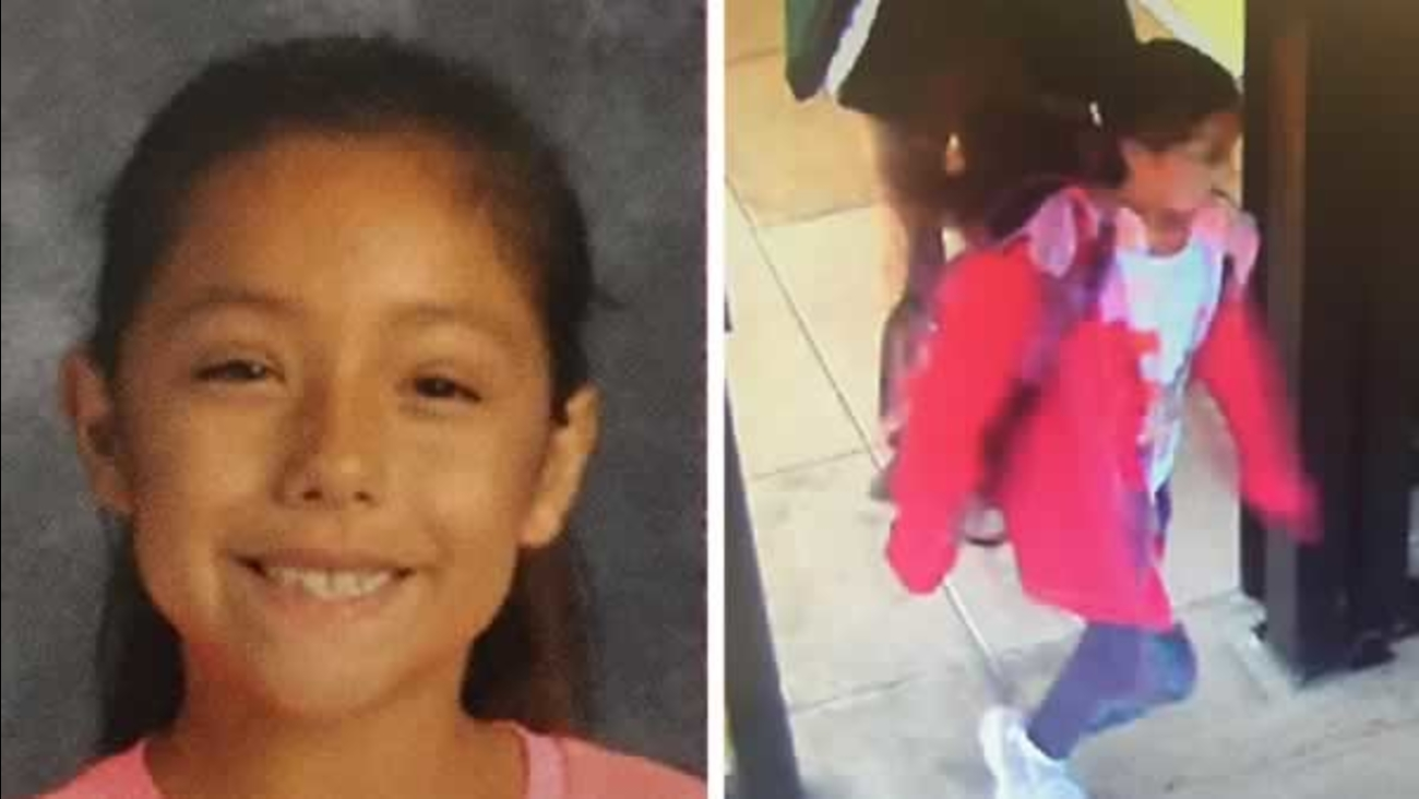 """The San Mateo County Sheriff is searching for 9-year-old """"Angelina."""" She was last seen wearing the outfit pictured on the right."""