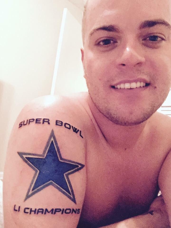 Man With Cowboys Super Bowl Li Tattoo Receiving Death Threats