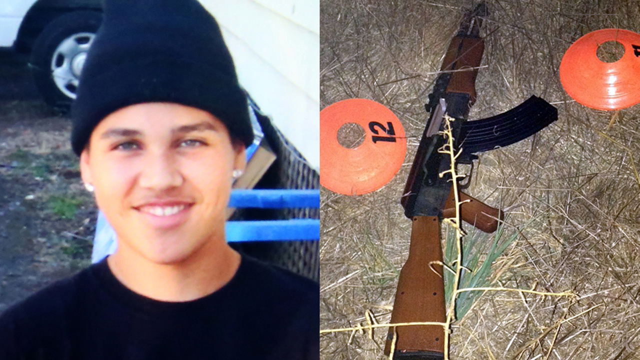 FILE -- An undated photo of 13-year-old Andy Lopez and the replica assault rifle he was holding when he was shot and killed in Santa Rosa, Calif. on Tuesday, Oct. 22, 2013.