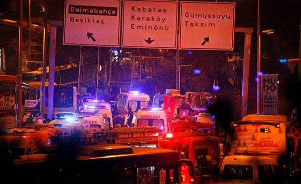<div class='meta'><div class='origin-logo' data-origin='AP'></div><span class='caption-text' data-credit='AP'>Rescue services rush to the scene of explosions near the Besiktas football club stadium, following at attack in Istanbul.</span></div>