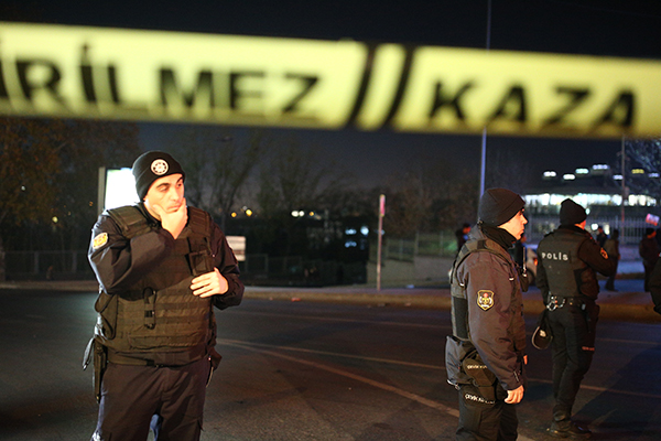 <div class='meta'><div class='origin-logo' data-origin='AP'></div><span class='caption-text' data-credit='AP'>Turkish police officers cordon off the roads leading to the area of the Besiktas football club stadium, in Istanbul.</span></div>