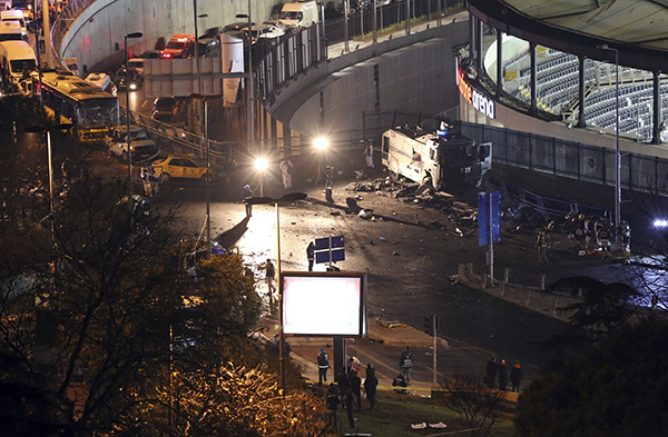 <div class='meta'><div class='origin-logo' data-origin='AP'></div><span class='caption-text' data-credit='AP'>Rescue services work at the scene of explosions near the Besiktas football club stadium after attacks in Istanbul, late Saturday, Dec. 10, 2016.</span></div>