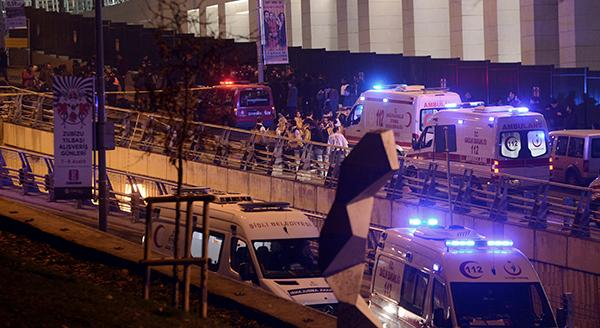 <div class='meta'><div class='origin-logo' data-origin='AP'></div><span class='caption-text' data-credit='AP'>Rescue services and ambulances rush to the scene of explosions near the Besiktas football club stadium after attacks in Istanbul, late Saturday, Dec. 10, 2016.</span></div>