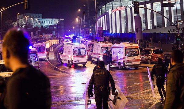 <div class='meta'><div class='origin-logo' data-origin='AP'></div><span class='caption-text' data-credit='AP'>Police officers and ambulances fill the street next to the Besiktas football club stadium, in Istanbul, late Saturday, Dec. 10, 2016.</span></div>