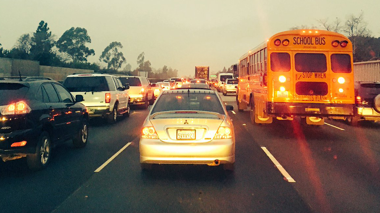 Traffic was backed up after a fatal crash on the westbound 101 Freeway in North Hollywood on Monday, Dec. 12, 2016.