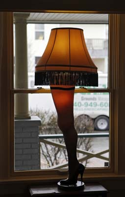 <div class='meta'><div class='origin-logo' data-origin='none'></div><span class='caption-text' data-credit='AP'>In this Nov. 21, 2013, photo, a leg lamp is framed in the window of the house in Cleveland where much of the 1983 movie &#34;A Christmas Story&#34; was filmed.(AP Photo/Mark Duncan)</span></div>