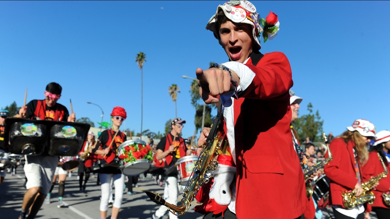 The Stanford University Cardinal Marching Band performs in the 127th Rose Parade in Pasadena, Calif., Friday, Jan. 1, 2016.