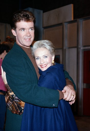 <div class='meta'><div class='origin-logo' data-origin='AP'></div><span class='caption-text' data-credit='AP Photo/Nick Ut'>Actress Jane Powell embraces Alan Thicke during a break in the taping of the television series 'Growing Pains' in Burbank, California, Tuesday, Oct. 18, 1988.</span></div>