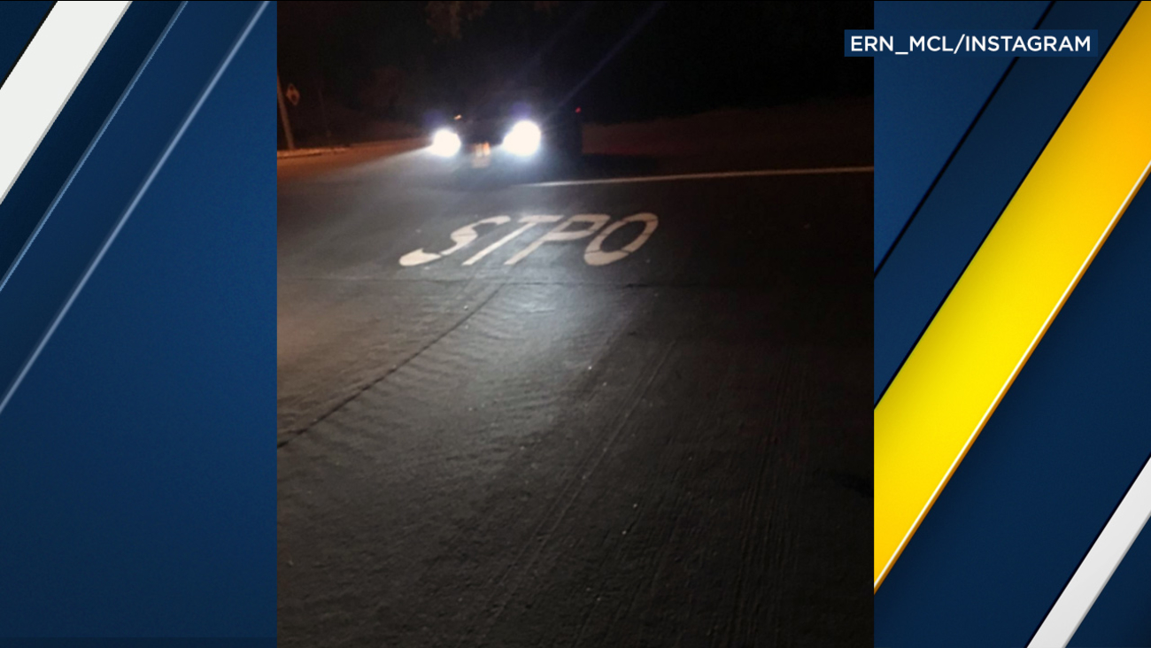 Road crews made a typo when attempting to write 'stop' for a street marking in Chino Hills.