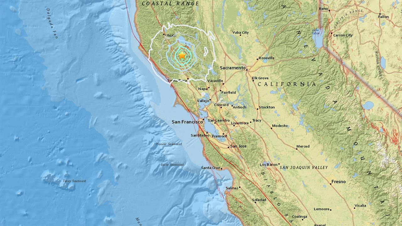 An earthquake with a preliminary magnitude of 5.0 struck in Lake County in Northern California on Wednesday, Dec. 14, 2016.