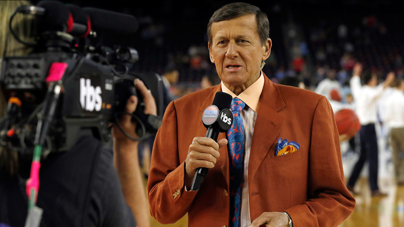 In this April 4, 2016, file photo, Craig Sager speaks before the NCAA Final Four tournament college basketball championship game between Villanova and North Carolina in Houston.