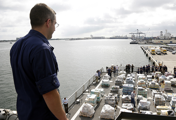 "<div class=""meta image-caption""><div class=""origin-logo origin-image ap""><span>AP</span></div><span class=""caption-text"">Pallets containing more than 26 tons of cocaine worth at least $715 million sit on the flight deck of of 418-foot Coast Guard Cutter Hamilton, Thursday, Dec. 15, 2016. (AP Photo/Lynne Sladky)</span></div>"