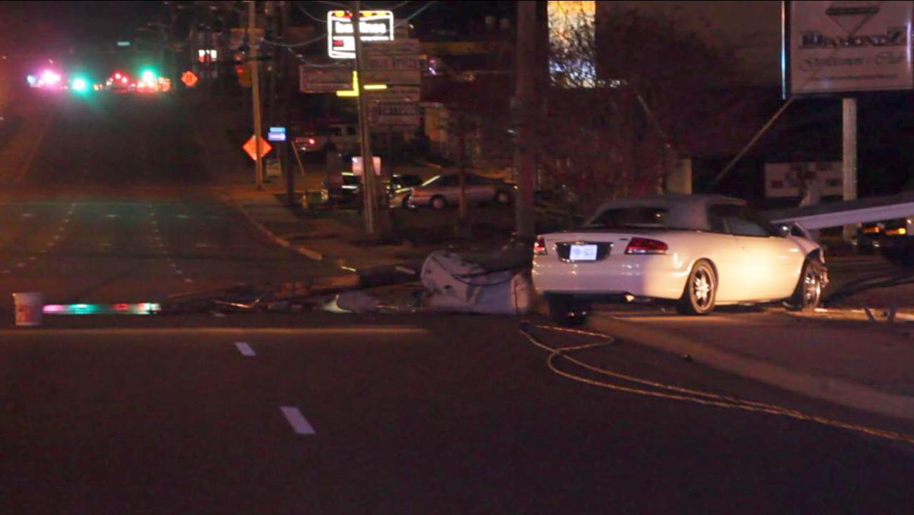 A car smashed into a power pole on Bragg Boulevard.