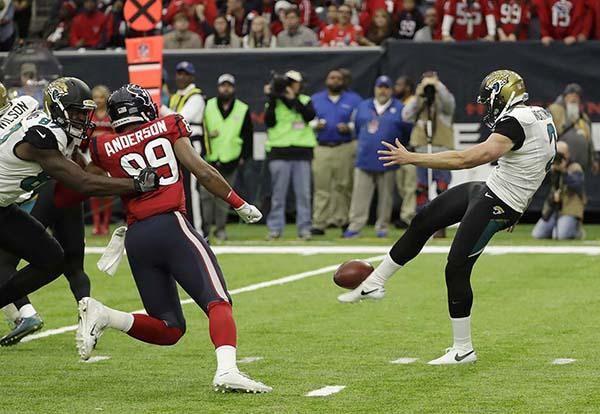 <div class='meta'><div class='origin-logo' data-origin='AP'></div><span class='caption-text' data-credit='AP'>Jacksonville Jaguars punter Brad Nortman is shown during the first half of an NFL football game Sunday, Dec. 18, 2016, in Houston. (AP Photo/David J. Phillip)</span></div>