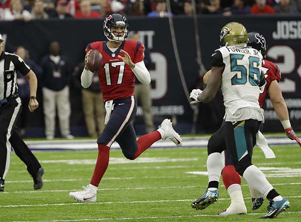 <div class='meta'><div class='origin-logo' data-origin='AP'></div><span class='caption-text' data-credit='AP'>Houston Texans quarterback Brock Osweiler (17) is shown during the first half of an NFL football game Sunday, Dec. 18, 2016, in Houston. (AP Photo/David J. Phillip)</span></div>
