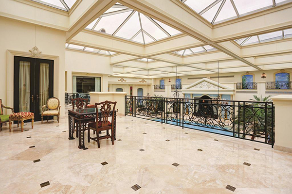 "<div class=""meta image-caption""><div class=""origin-logo origin-image none""><span>none</span></div><span class=""caption-text"">Upstairs terrace off the master suite overlooking the pool. Marble floors throughout. Beautiful railing. (Courtesy Houston Association of Realtors)</span></div>"
