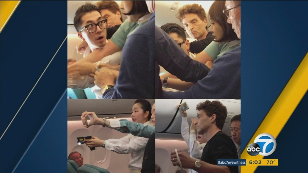Singer Richard Marx and his celebrity wife jumped into action when a passenger got out of control.