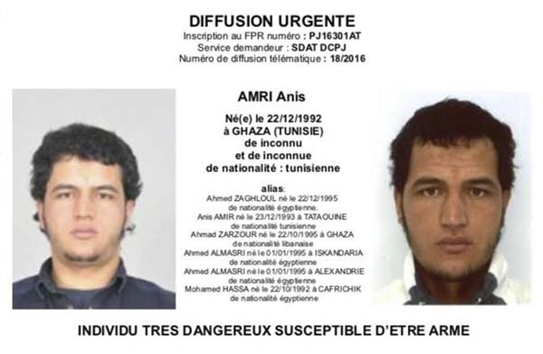 <div class='meta'><div class='origin-logo' data-origin='AP'></div><span class='caption-text' data-credit='Police via AP'>Tunisian national Anis Amri is wanted by German police for an alleged involvement in the Berlin Christmas market attack.</span></div>