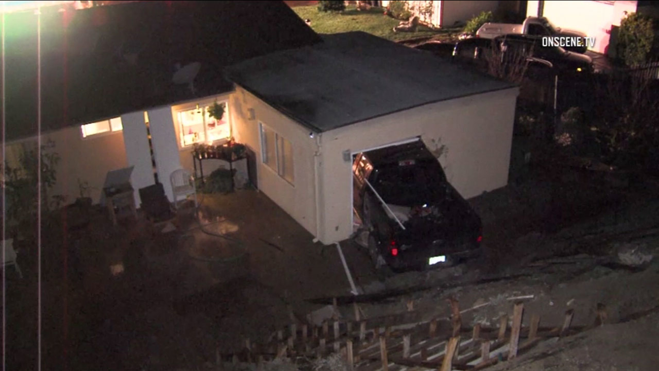 A pick-up truck crashed into a guest bedroom in the back of a Thousand Oaks home in the early morning hours of Thursday, Dec. 22, 2016.