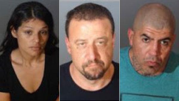 Package theft suspects Melissa Alberta Arambula, Sean Michael Clemens and Nickolas Raymond Martinez, Jr.