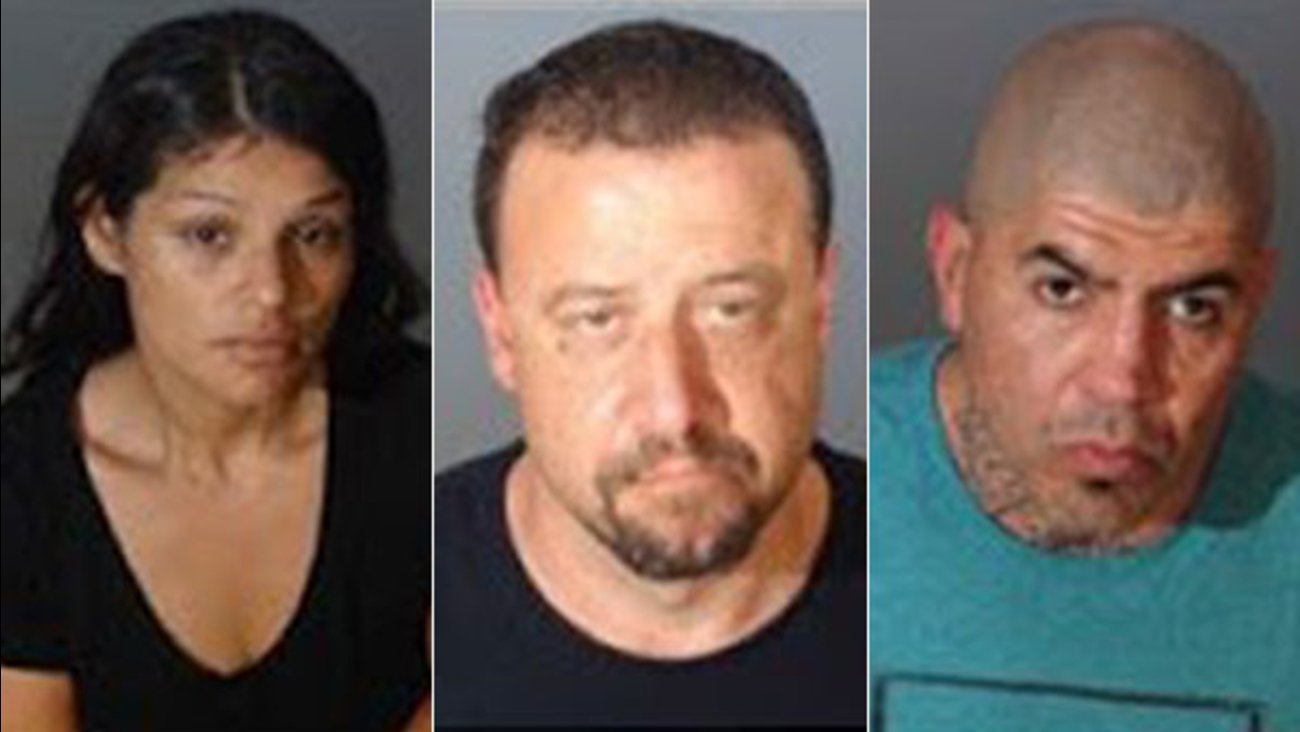 Package theft suspects Melissa Alberta Arambula, Sean Michael Clemens and Nickolas Raymond Martinez, Jr.
