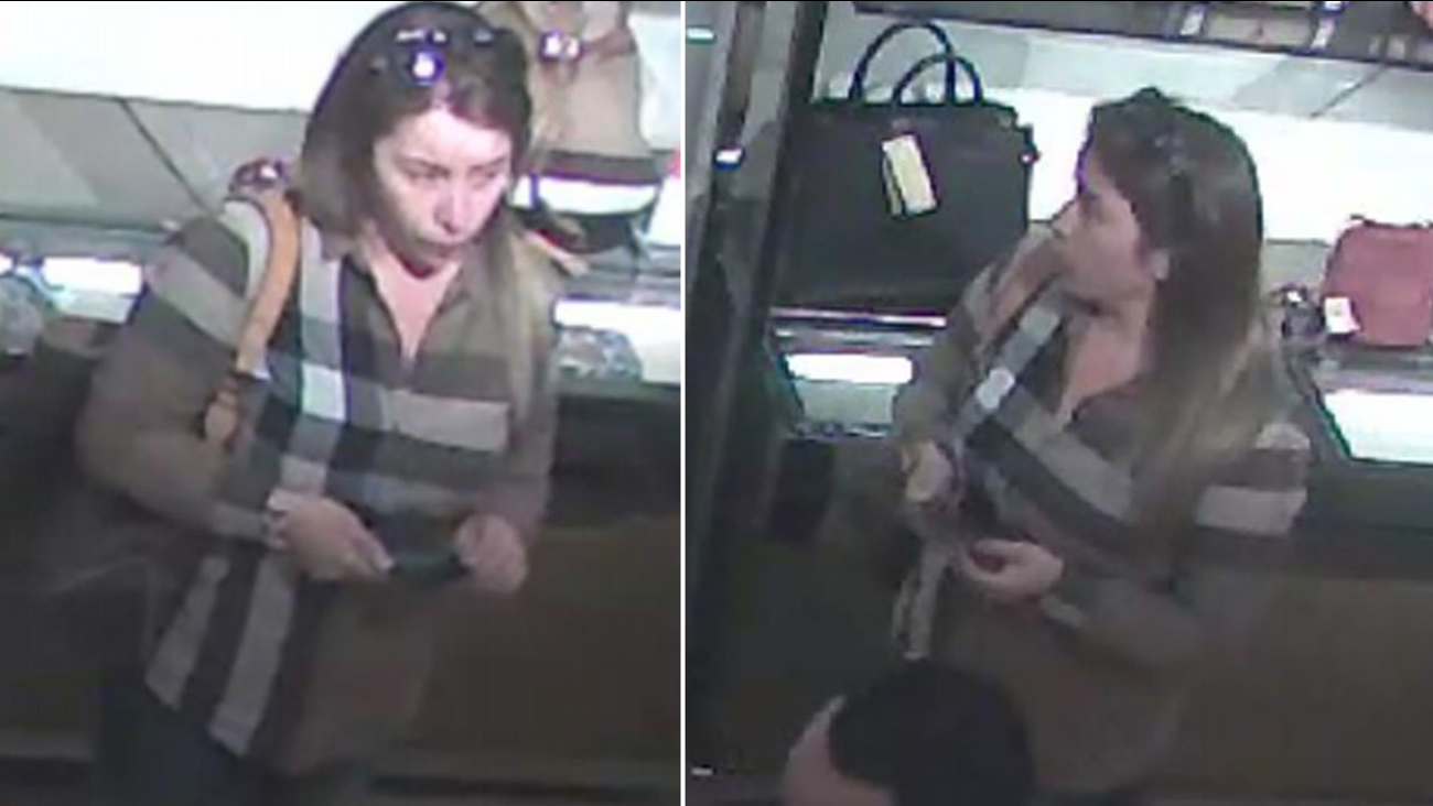 A woman is shown on surveillance camera and is suspected of stealing about $24,000 worth of items from a person's car in Burbank on Dec. 10, 2016.
