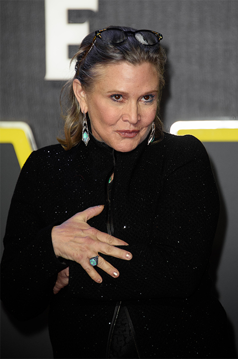 <div class='meta'><div class='origin-logo' data-origin='none'></div><span class='caption-text' data-credit='Jonathan Short/Invision/AP'>Carrie Fisher poses for photographers upon arrival at the European premiere of the film 'Star Wars: The Force Awakens ' in London, Wednesday, Dec. 16, 2015.</span></div>