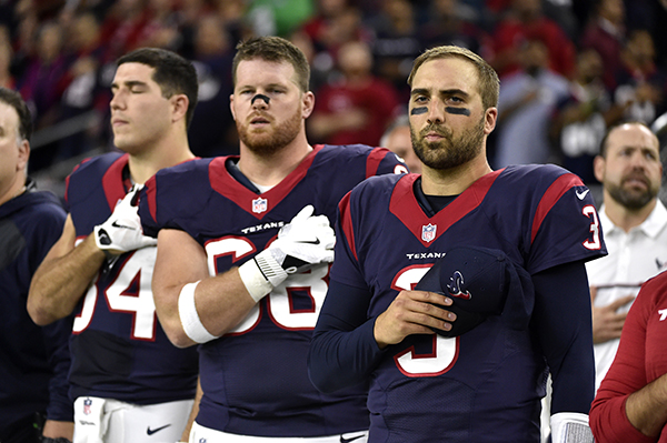<div class='meta'><div class='origin-logo' data-origin='AP'></div><span class='caption-text' data-credit='AP Photo/Eric Christian Smith'>Houston Texans quarterback Tom Savage (3) on the sidelines before an NFL football game against the Cincinnati Bengals Saturday, Dec. 24, 2016, in Houston.</span></div>