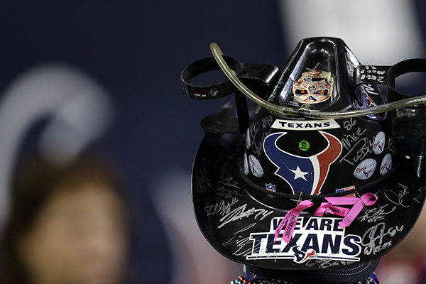 <div class='meta'><div class='origin-logo' data-origin='AP'></div><span class='caption-text' data-credit='(AP Photo/Sam Craft)'>A Houston Texans fan watches from the sidelines before an NFL football game against the Cincinnati Bengals Saturday, Dec. 24, 2016, in Houston.</span></div>