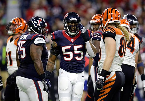 <div class='meta'><div class='origin-logo' data-origin='AP'></div><span class='caption-text' data-credit='(AP Photo/Sam Craft)'>Houston Texans inside linebacker Benardrick McKinney (55) adjusts his helmet against the Cincinnati Bengals during the first half of an NFL football game.</span></div>