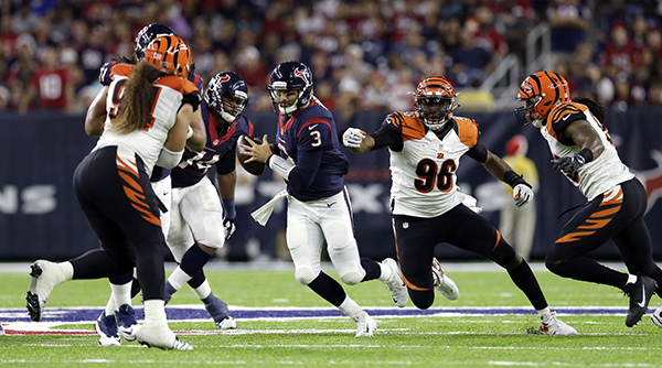 <div class='meta'><div class='origin-logo' data-origin='AP'></div><span class='caption-text' data-credit='AP Photo/Sam Craft'>Houston Texans quarterback Tom Savage (3) scrambles out of the pocket during the second half of an NFL football game against the Cincinnati Bengals.</span></div>