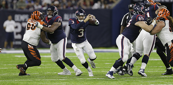 <div class='meta'><div class='origin-logo' data-origin='AP'></div><span class='caption-text' data-credit='AP Photo/Sam Craft'>Houston Texans quarterback Tom Savage (3) scrambles out of the pocket against the Cincinnati Bengals during the second half of an NFL football game Saturday, Dec. 24, 2016.</span></div>
