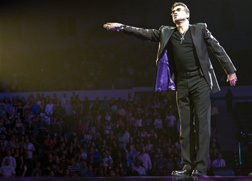<div class='meta'><div class='origin-logo' data-origin='AP'></div><span class='caption-text' data-credit='AP Photo/Chris Park'>George Michael performs during his concert at the San Diego Sports Arena Tuesday June 17, 2008 in San Diego.</span></div>