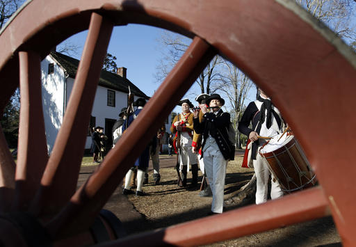 <div class='meta'><div class='origin-logo' data-origin='AP'></div><span class='caption-text' data-credit='AP Photo/Mel Evans'>A fife and drum band play during a re-enactment of Gen. George Washington's daring Christmas 1776 crossing of the Delaware River.</span></div>
