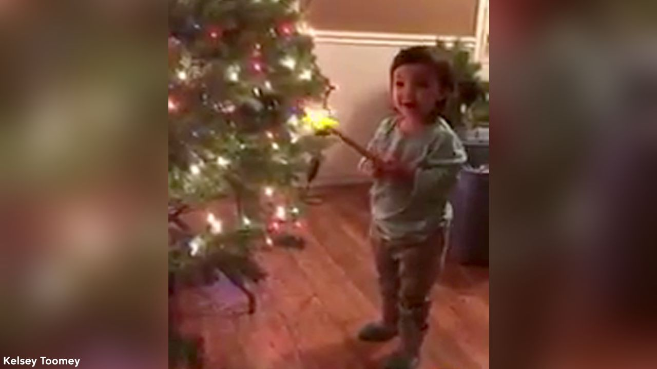 Surprise! Toddler\'s magic wand lights Christmas tree | abc7ny.com
