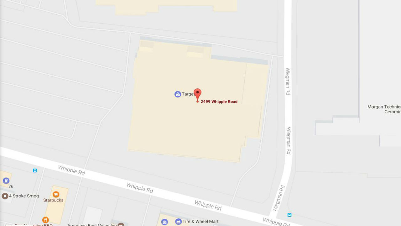 A Google map image of the Hayward Target store on Monday, Dec. 26, 2016.