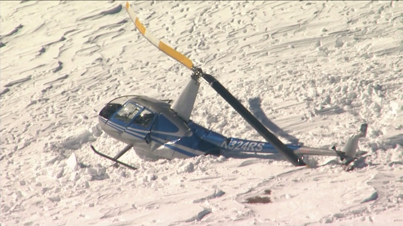 A helicopter crashed in the snow-covered Mount Baldy area on Thursday, Dec. 29, 2016. Three people were injured, officials said.