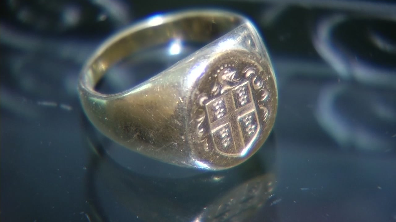A ring stolen from a fallen soldier's mausoleum in Contra Costa County is seen in this undated image.