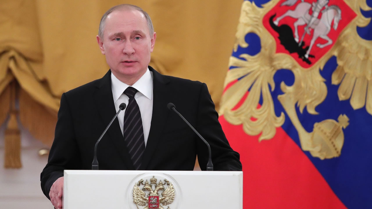 Russian President Vladimir Putin speaks during a New Year reception in the Kremlin in Moscow, Russia, Wednesday, Dec. 28, 2016.